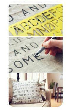 #diy pillows stencil love for sue