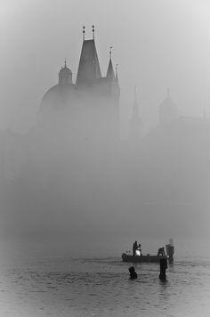 The Vltava River under the fog - Prague