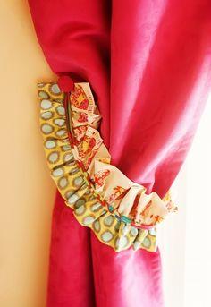 craft, addi room, babi idea, draperi tieback, curtain tie backs, window treatment, tieback pair, ties, creativ curtain