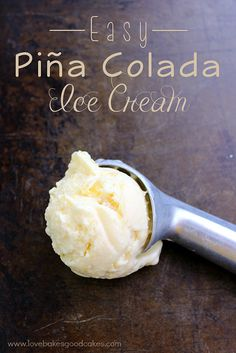 Easy Piña Colada Ice Cream is a creamy coconut ice cream with crushed pineapple. This is a no cook recipe!! #icecream #summer #pineapple #coconut