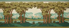 Riverside border - $57.95 - 5 yards by 13.5 inches. Note: It is common practice that quality hand-printed wallpapers often show the artist's name and colors copyrighted on the bottom of the wallpaper and will need to be trimmed by the consumer before using.