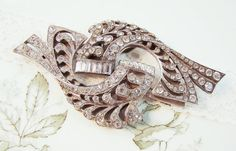Vintage Large Flourish Art Deo Rhinestone Duet by Alyssabeths, $32.00