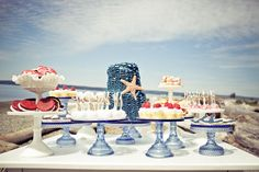 Vintage Beach Wedding Dessert Table