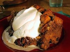 Sunnys Double Chocolate Bread Pudding with Bourbon Whipped Cream