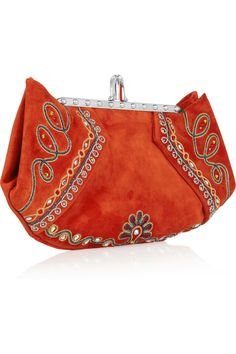 CHRISTIAN LOUBOUTIN  Loubis Angel embroidered suede clutch
