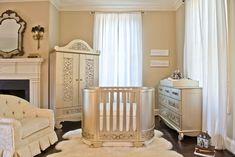 Elegant! #nursery #decor furniture by Bratt Decor with white crib bedding and drapes