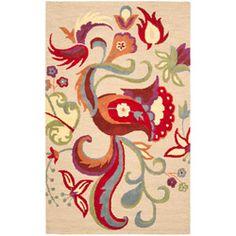 Handmade Blossom Beige Wool Rug (8' x 10') $320, overstock
