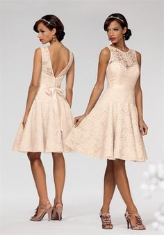 Short lace bridesmaid dress with full flared skirt