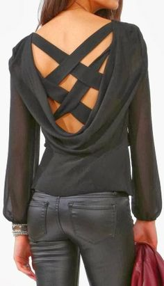 Adorable criss cross black blouse and leather pant fashion