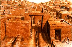 Ancient Indus Gateway Drawing. Mound E Gateway Artists Conception by Chris Sloan, courtesy of JM Kenoyer