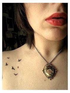 tattoo placements, bird tattoos, 3 little birds tattoo, pattern tattoo, small tattoos, tattoo patterns, tiny tattoo, a tattoo, delicate bird tattoo