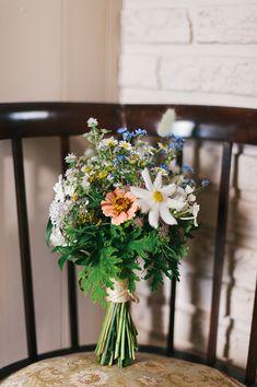 wildflower bouquet, photo by Sara Wilde http://ruffledblog.com/pucks-farm-wedding #weddingbouquet #flowers