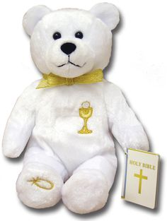 White Plush First Communion Teddy Bear