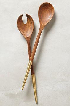 Brass tipped wood serving set