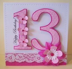 numbers...I like the punches and bling up the side of the number. Also love that they embossed bothe the number and the backgraound. Not sure about the lace. Maybe a strip of ribbon there? cute card.