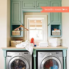 Cute color for laundry room cabinets color palettes, cabinet colors, robin egg blue, laundry area, laundry rooms, laundry nook, small spaces, painted cabinets, table legs