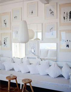 interior design, living rooms, design homes, galleri, bench, gallery walls, framed art, hous, art displays