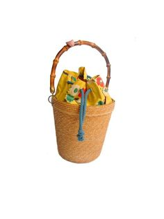 50s french basket handbag  straw and printed by lesclodettes, $59.00