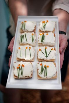 toasts w/ herbed cream cheese and chive/roe flowers