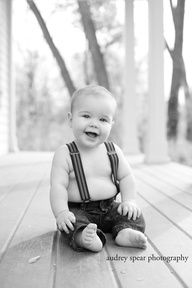 6 Month Picture Ideas For Baby Boys | month photo session for baby boy... Trading the bowtie for suspenders.