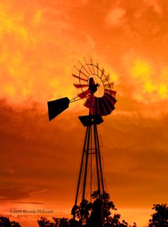 Windmill in Texas against the sunset