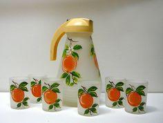 Hazel Atlas Frosted Orange Juice Set