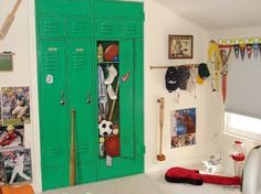"brand new closet doors painted to look like a bank of lockers. One locker door is ""open"" . . clever idea."