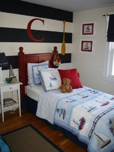boy's rooms - white navy red RMS nautical boy room