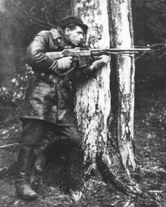 A member of the Jędrusie, an underground group of Polish partisans who carried out attacks against German forces during WWII.    Photo taken circa 1942.