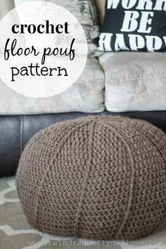 Crochet Floor Pouf Pattern - free #crochet from twindragonflydesigns.com