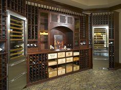 Wine cellar design incorporating wine refrigerators...