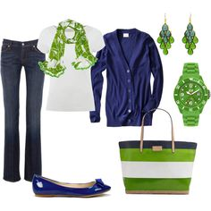 blue green, created by #jenniebel on #polyvore. #moda #style Lauren Ralph Lauren 7 For All Mankind