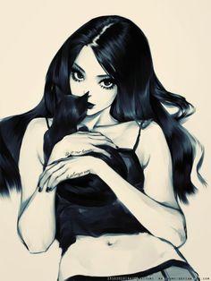 black hair, black cat.