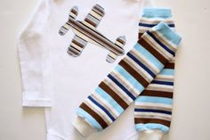 My Little Pilot Blue Brown Tan White Striped by ShortandSweetPeas, $19.00