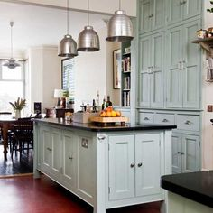 Light Blue Kitchen Cabinets   Modern Victorian kitchen   Kitchens   Kitchen ideas   Image ...