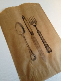25 Vintage Silverware Pouches- BBQ, Baby Shower, Wedding, Birthday Party. $12.50, via Etsy.