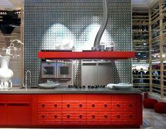 Red kitchen at EuroCucina
