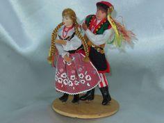 Vintage Poland Folk Art Doll Man and Women dance by nalika