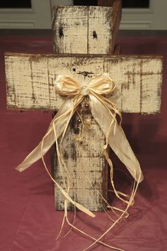 """Wooden Pallet Cross painted, stained and decorated 18"""" selling for $12 each plus shipping"""