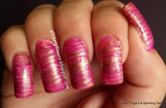 Glittery Fingers & Sparkling Toes: Pink & Bronze Fan Brush Design