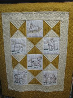 Hand Embroidery  Baby horse quilt by carolboyer on Etsy, $69.00