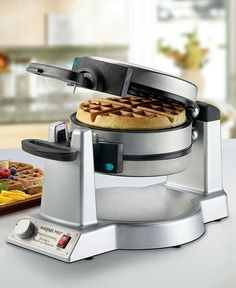 Waring WMK600 Waffle Maker: Rotates for even browning on both sides. Makes waffles with really deep pockets. #Waffle_Maker #Belgian#Waffles #Waring