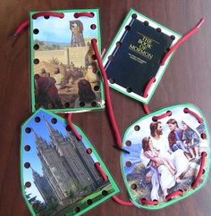 Print off gospel pictures, laminate them on hard cardstock, punch holes, and let your child wind a shoelace through the holes!