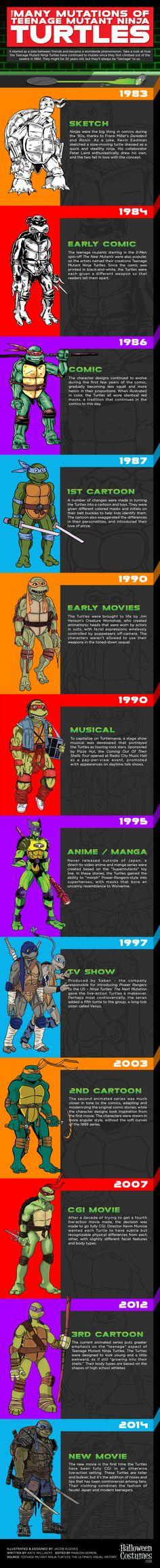 The different variations of Teenage Mutant Ninja Turtles