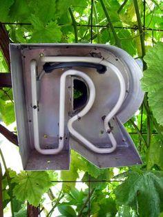 vintage letter R neon light. Cool!