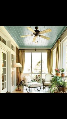 Blue porch ceiling. Thought to be good luck in the South. Love it!