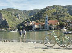 Bike through Austria along the majestic Danube river. © Österreich Werbung/ Peter Burgstaller #austria #duernstein #biking #danube #river #nature #cycling #visitaustria