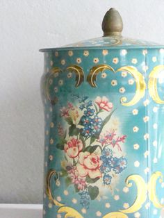 Shabby Granny Chic Murray Allen Candy Tin with Pink Floral Flowers Gold Scroll | ItchinStitchin