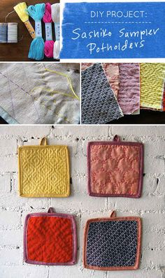Embroider these pretty quilted potholders: | 21 Adorable DIY Projects To Spruce Up Your Kitchen
