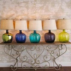 All Table Lamps - Shades of Light...i love both the blue ones!